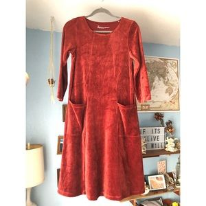 NWOT Gudrun Sjoden Long Sleeve Velvet Midi Dress